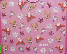 Accessoire ongles nail art, Stickers noël : Père Noël , rennes et étoiles