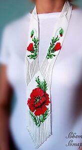 """Handmade Beaded Necklace """"Ukrainian"""" with Poppy"""