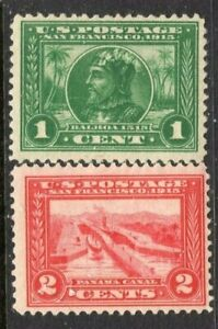 [DZ]  US  #397 & #398 Mint-VLH OG 1913  Perforated 12 'Pan-Am' Issues