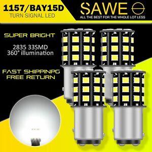 4 x SAWE LED Front Turn Signal Parking Light Bulb 6500K White 1157 2057 2357