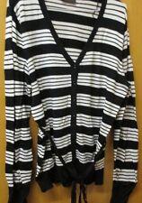 Ladies Black/White Striped Cardigan - size 14-16