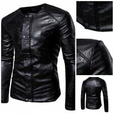 Men's Slim Fit Faux Leather Jacket Motorcycle Biker Gothic Blazer Collarless L