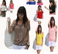 Damen Tshirt T Shirt Longshirt Bluse kurz Top Trägertop schulterfrei 36 38 40 42