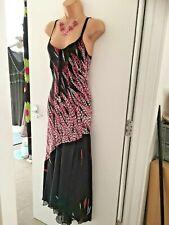 Beautiful Size 12 SATSUMA Black and Pink Maxi Dress Longer at the Back