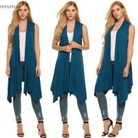 Women Sleeveless Asymetric Hem Open Front Solid Cardigan Coat H1PS 04