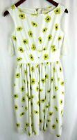 Kate Spade Daisy Dot Lyric Print Dress 99% Cotton White Womens Size 2 Floral