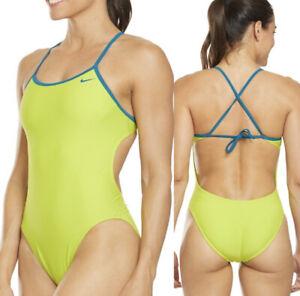 Nike Women's Size 2 Solid Crossback Cut -Out Neon Tank Open Back Swimsuit 28
