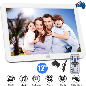 White 12'' Full HD Digital Photo Picture Frame Music Video Player Remote Control
