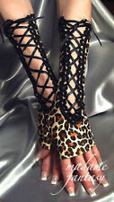 LONG LEOPARD PRINT BLACK SPANDEX LACE UP FINGERLESS GLOVES ARM WARMERS