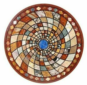 Geometrical Design Inlay Bar Table Top Red Marble Dining Table Size 48 Inches