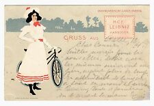 Postcard German 1899 Leibniz Cakes Woman & Bicycle Signed Heinrich Mittag