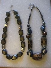 Lot of 2 Chunky Glass Beads Necklaces / Translucent Black & Cheetah