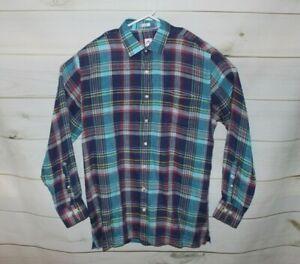 Men's Large Peter Millar Multi-Colored Plaid 100% Linen Button Down Shirt