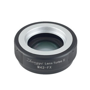 Lens Turbo II adapter for M42 mount lens to FUJIFILM XPro2 XH1 XT3 XT20 T1