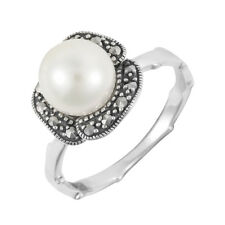 Esse Marcasite Sterling Silver White Pearl Floral Vintage Ring - Size M