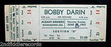 BOBBY DARIN-Rare Unused Concert Ticket From 1962-Mack The Knife-Teen Idol