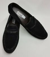 Munro American Shoes Loafers Slip-On Mini Wedge Black Leather Suede Womens Sz 9M