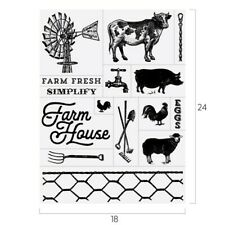 Chalk Couture FARMHOUSE Transfer NEW Farm House Cow Windmill pig chicken