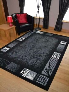 Modern Black Grey Rugs Mats Large Small Hallway Runners Big Floor Area Carpet