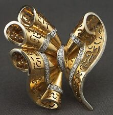 Huge Vintage 1940s Retro 18K Gold & Diamond Filigree Bow Fur Clip Pin Brooch