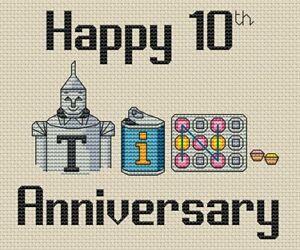 10th (Tin) Anniversary Cross Stitch Design (kit or chart)