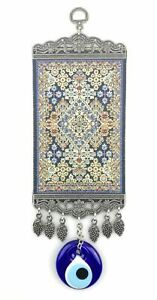 Handmade Turkish Carpet Wall Hanging - Evil Eye - Nazar Alloy