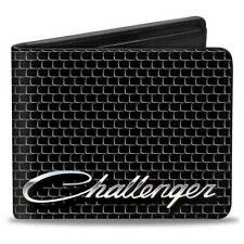 Men Wallet Bifold Black Dodge Challenger SRT Script Grille Logo Genuine