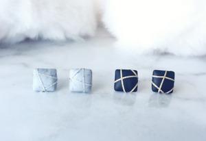 Square Marble Earrings Handmade Polymer Clay Stud Earrings Surgical Steel