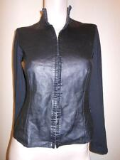 BEBE Black leather & Cotton Long Sleeve Hook latch Front Close Blouse Top XS