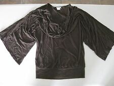 Brown Casual or Dress Shirt / Easy Fit / Draped Cowl Neck, Draped Sleeves / NEW