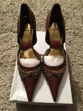 """NIB Womens Brown Leather Uppers Bakers Cameron, Gold Chain, 4"""" Heels, Size 9B"""