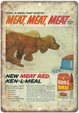 """Puppy Vintage Dog Food Ken L Meal Ad 10"""" X 7"""" Reproduction Metal Sign N355"""