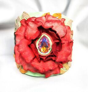 Adjustable Genuine Leather Flower Bracelet-Faceted Crystal Glass Stone-------