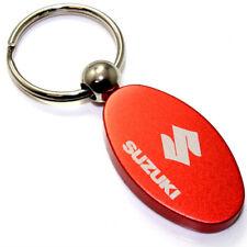 Orange Aluminum Metal Oval Suzuki Logo Key Chain Fob Chrome Ring