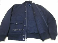 Rare  POLO RALPH LAUREN down filled wool bomber JACKET Coat Navy Large Thick