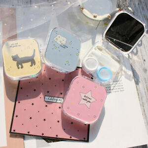 Lens Box Cartoon Cute Cat Portable Contact Storage Case Mirror Container Hol_RZ