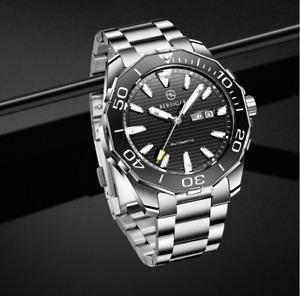 BERSIGAR Schwarz Armbanduhr Automatik Herren Uhr Saphirglas