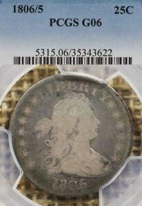 1806/5 25C PCGS G06 Draped Bust Quarter, RARE!