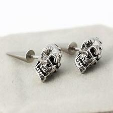 Men Women Stainless Steel Skull Head Skeleton Rivet Spike Back Punk Stud Earring