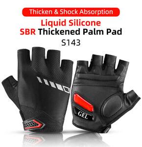 ROCKBROS Cycling Gloves Half Finger Sports Bike Bicycle Gel Pad Gloves Black