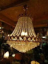 Lustre montgolfière, Grand lustre à pampilles, lustre cristal 10 lampes