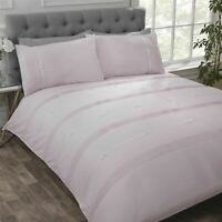 PINTUCK PLEATS RIBBON BOWS PINK WHITE COTTON BLEND SUPER KING DUVET COVER