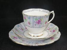Royal Albert Bone China Trio DEBUTANTE 1950 Cup Saucer Plate Pink Rose Grey Lace
