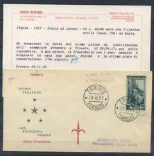Italia Repubblica 1957 Sass. 760 Primo Giorno 100% Certificato Biondi- Tergeste