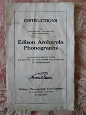 Vintage INSTRUCTIONS For EDISON AMBEROLA PHONOGRAPHS,Copy of Original,C.1905,4pg