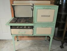 Vintage 1930s A-B Battle EnamelMint Green Monogram Gas Stove