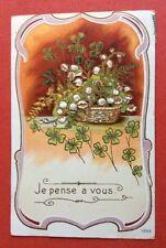 CPA. 1908. Je pense à vous. Panier de Muguets. Trèfles. Gaufrée. Embossed.