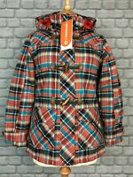 MERRELL LADIES UK XS AUBREY PLAID RED BLUE HOODED WINTER DUFFLE COAT £150 AD