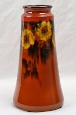 Rookwood Pottery Vase, 1926 Porcelain Wild Roses Red Brown #1655E Harriet Wilcox