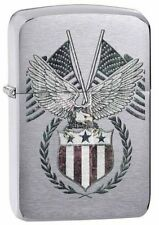 Zippo Windproof Replica Brushed Chrome Lighter, American Eagle, 29093 New In Box